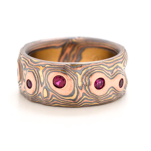 Mokume Guri Bori Band in Oxidized Fire with Rubies