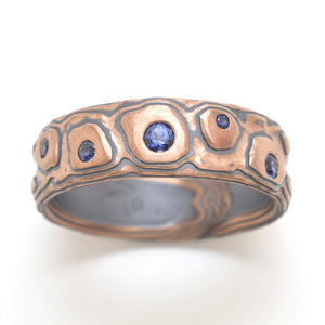 Mokume Gane Band or Ring in Guri Bori Pattern and Flame Metal Combination w/ Sapphires