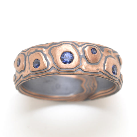 Mokume Guri Bori Band in Oxidized Flame with Sapphires