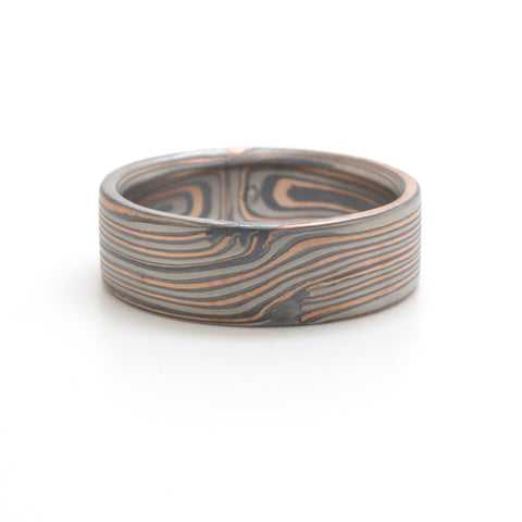 Mokume Infinity Ring in Oxidized Embers