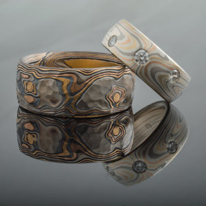 Crafted Mokume Gane Rings or Wedding Band Set with Added Gold Knots and Flush Set Diamonds