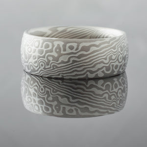 mokume ring wedding band spots print droplet pattern