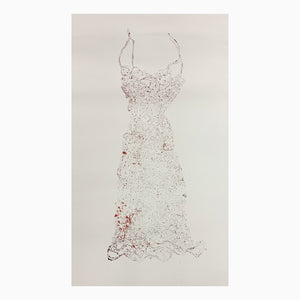 Lightly printed wire dress collagraph print with black and red ink thin wire. In white frame matted