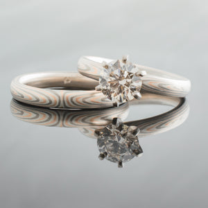 diamond engagement ring in mokume