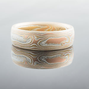 River Mokume Gane Ring or Wedding Band in Fire Palette and Woodgrain Pattern