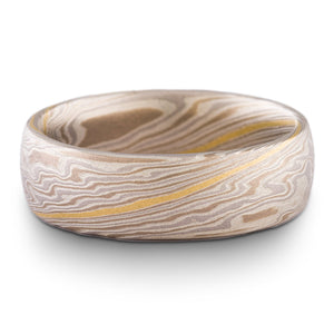 Unique Mokume Gane Wedding Band or Ring in Twist Pattern and Smoke Palette with 18k Gold Stratum