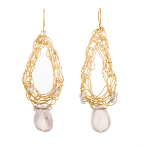 Large Teardrop Hoops with Rose Quartz
