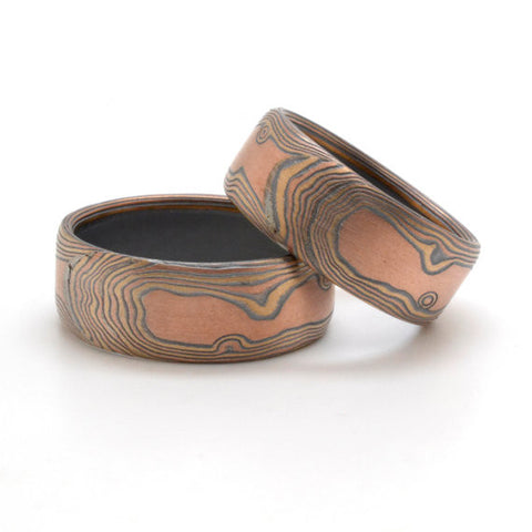 Matched Wedding Set of Rustic Knotty Wood Grain Mokume in 14k Red Gold, 14k Yellow Gold, and Sterling Silver with Oxidized Finish