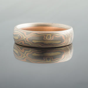 Artisan-Crafted Mokume Gane Ring or Wedding Band in Woodgrain Pattern and Blaze Palette