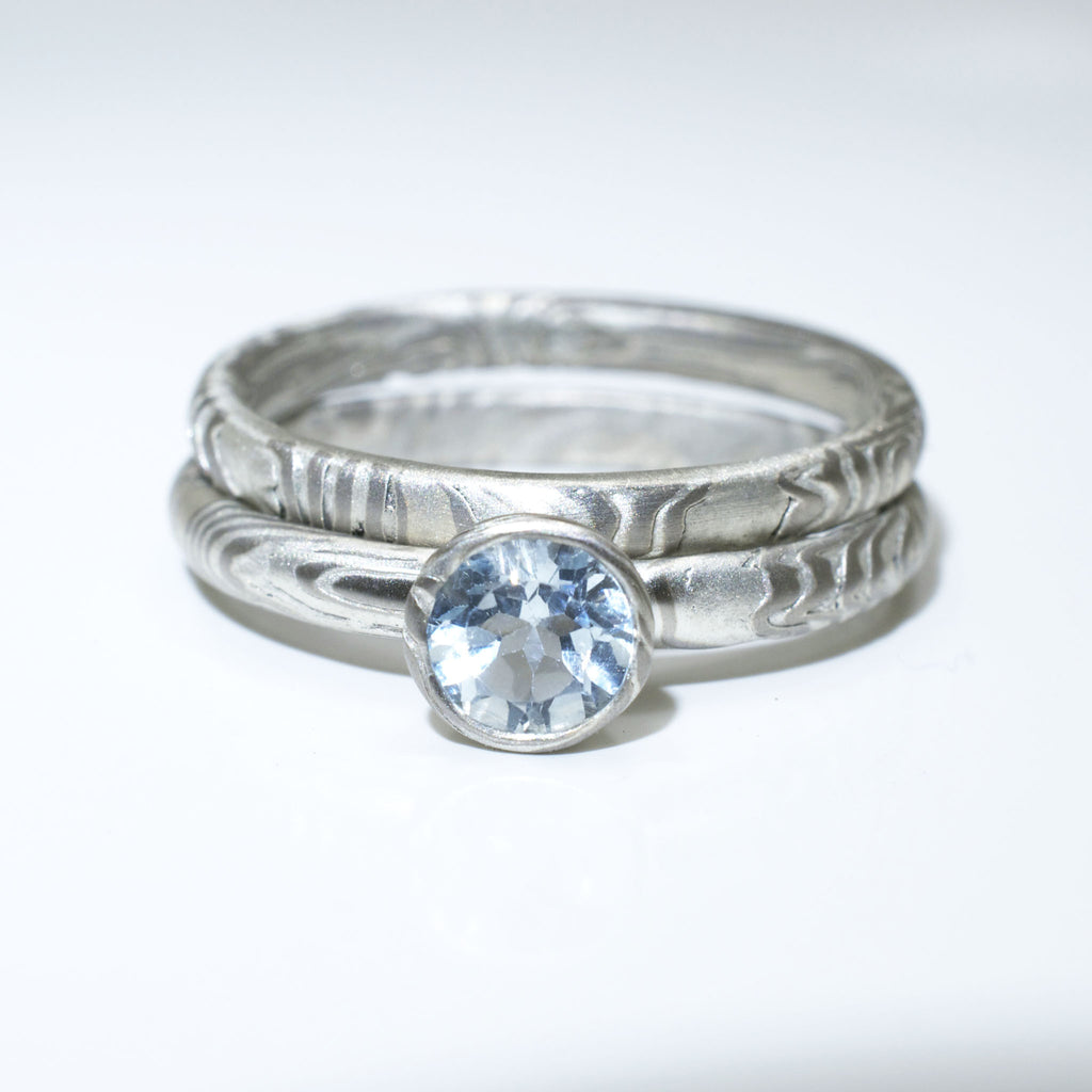 Mokume Gane Engagement Ring and Wedding Band Set in Palladium and Silver with Sky Blue Topaz