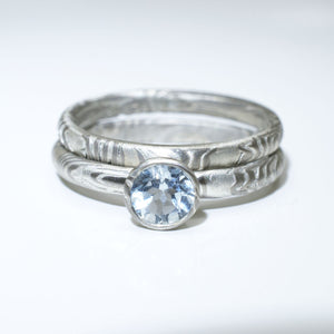Mokume Gane Engagement Ring light blue topaz Wedding Band Set in Palladium and Silver with Sky Blue Topaz