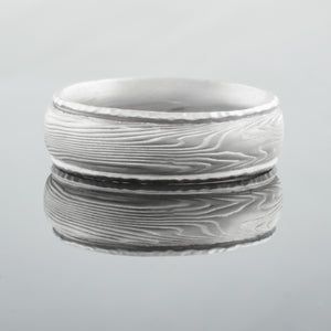 mokume gane ring with rails in silver palladium and white gold
