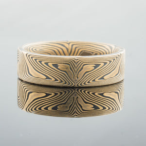 Refined Mokume Gane Wedding Band or Ring in Spark Palette and Echo Pattern SHIPS TODAY