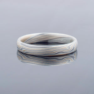 Mokume Gane Ring or Wedding Band in Twist Pattern and Flare Palette