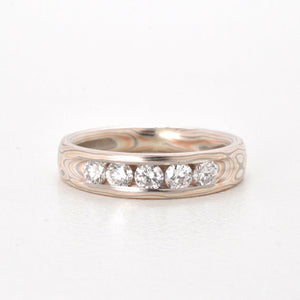 mokume gane ring wedding diamonds channel set in silver, red and white gold