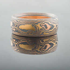 Natural Mokume Gane Wedding Band or Ring in Fire Palette and Woodgrain Pattern with Etched and Oxidized Finish
