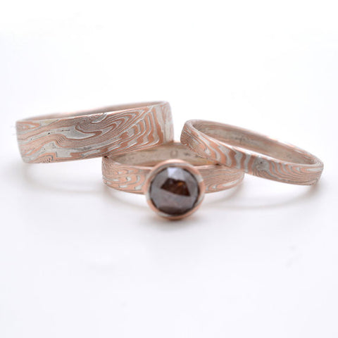 Mokume Wedding Set in 14kt Red Gold and Sterling Silver with Rose Cut Diamond