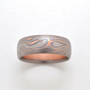 mokume gane ring mens wedding band in oxidized silver, red and white gold