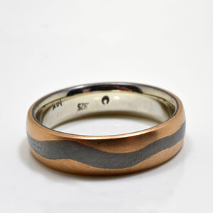 mokume gane custom wedding band set in oxidized silver and red gold