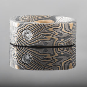 affordable mokume gane square ring mokume gane flare twist pattern diamond ruby