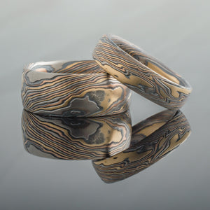 Refined Mokume Gane Wedding Band or Ring Set in Twist Pattern and Firestorm Palette with Etched and Oxidized Finish