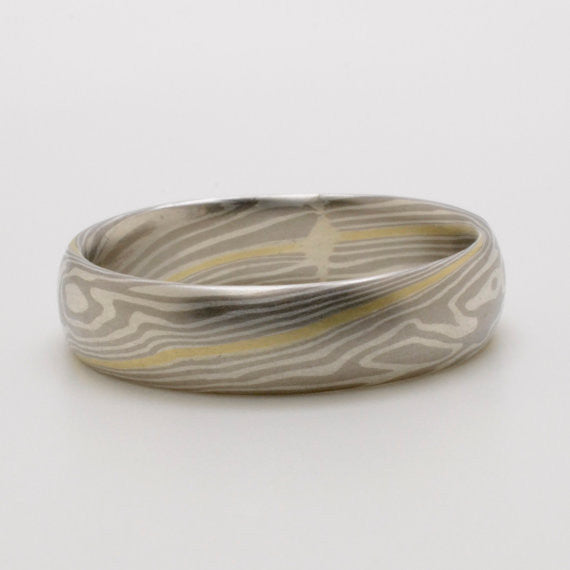 Twist Pattern Mokume Wedding Band in Palladium and sterling silver with 14k yellow Center Layer