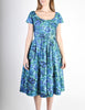 Vintage 1950s Blue Floral Raw Silk Full Skirt Dress - Amarcord Vintage Fashion  - 3