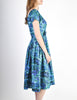 Vintage 1950s Blue Floral Raw Silk Full Skirt Dress - Amarcord Vintage Fashion  - 4