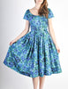 Vintage 1950s Blue Floral Raw Silk Full Skirt Dress - Amarcord Vintage Fashion  - 2
