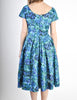 Vintage 1950s Blue Floral Raw Silk Full Skirt Dress - Amarcord Vintage Fashion  - 6