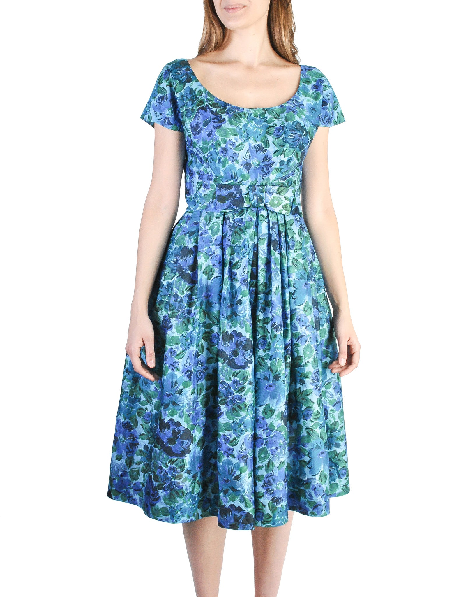 Vintage 1950s Blue Floral Raw Silk Full Skirt Dress - Amarcord Vintage Fashion  - 1