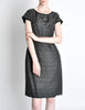 Vintage 1960s Woven Black and Grey Cocktail Dress - Amarcord Vintage Fashion  - 6