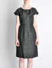 Vintage 1960s Woven Black and Grey Cocktail Dress - Amarcord Vintage Fashion  - 3