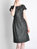Vintage 1960s Woven Black and Grey Cocktail Dress - Amarcord Vintage Fashion  - 2