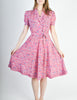 Vintage 1940s Pink Floral Dress - Amarcord Vintage Fashion  - 3