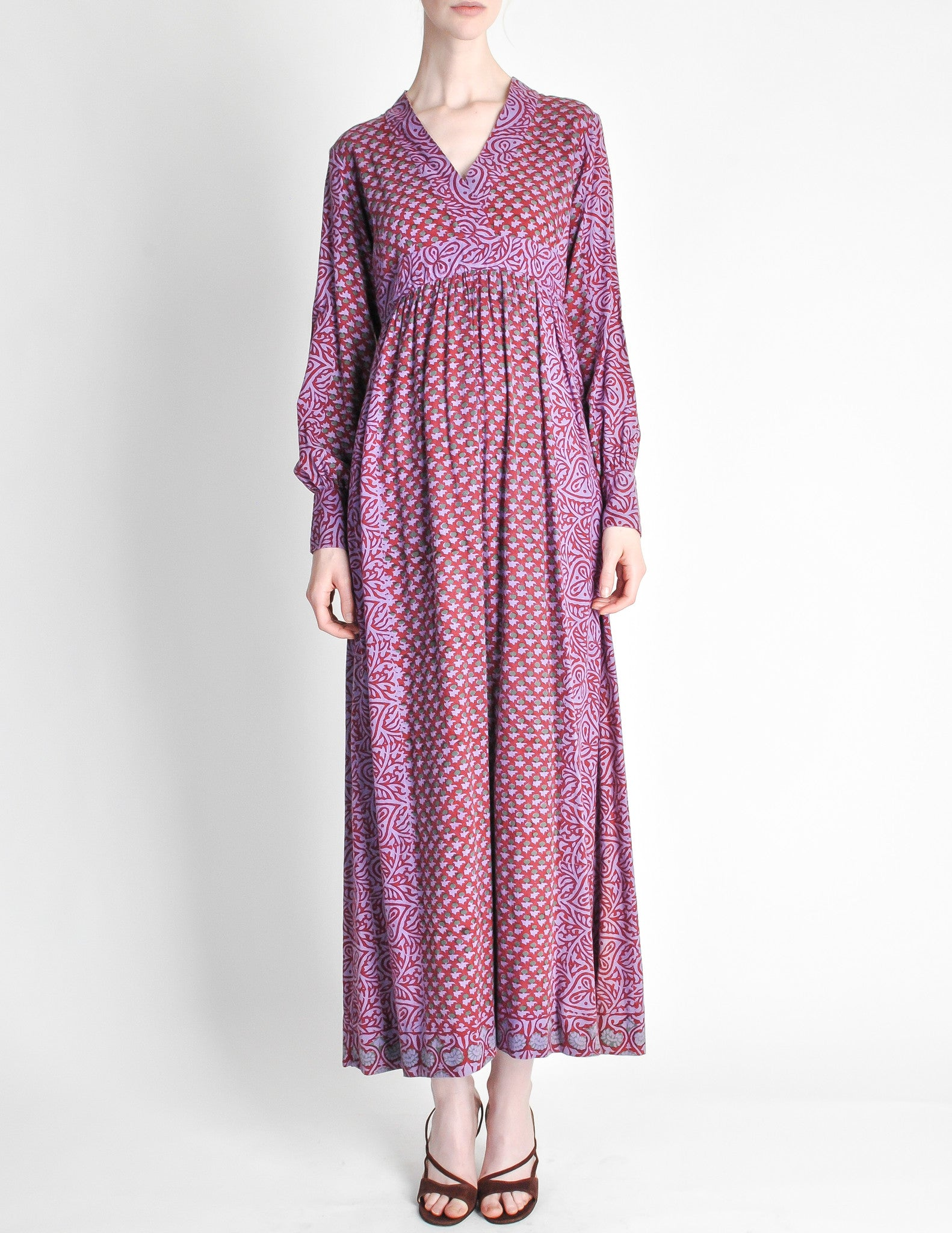 Vintage 1970s Purple Indian Block Print Maxi Dress From