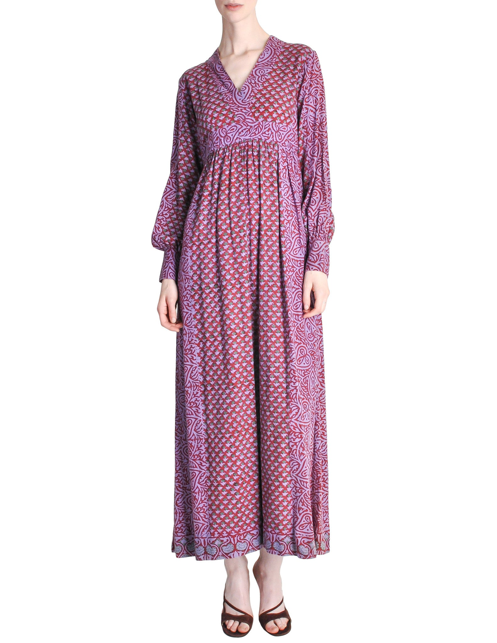 Vintage 1970s Purple Indian Block Print Maxi Dress - Amarcord Vintage Fashion  - 1