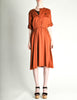 Vintage 1970s Rust Orange Black Mesh Shirt Dress - Amarcord Vintage Fashion  - 2