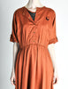Vintage 1970s Rust Orange Black Mesh Shirt Dress - Amarcord Vintage Fashion  - 3