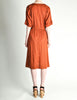 Vintage 1970s Rust Orange Black Mesh Shirt Dress - Amarcord Vintage Fashion  - 5