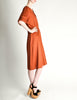 Vintage 1970s Rust Orange Black Mesh Shirt Dress - Amarcord Vintage Fashion  - 6