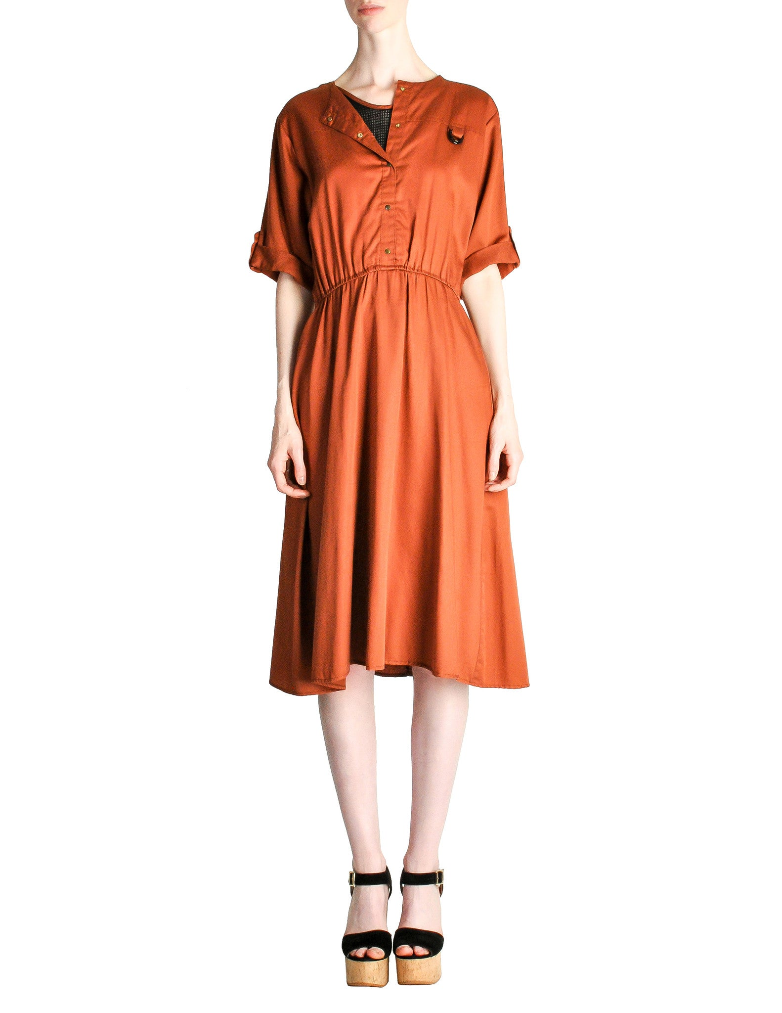 Vintage 1970s Rust Orange Black Mesh Shirt Dress - Amarcord Vintage Fashion  - 1