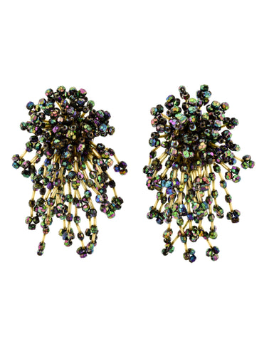 Vintage 1980s Oversized Firework Burst Green Purple Aurora Borealis Bead Statement Earrings