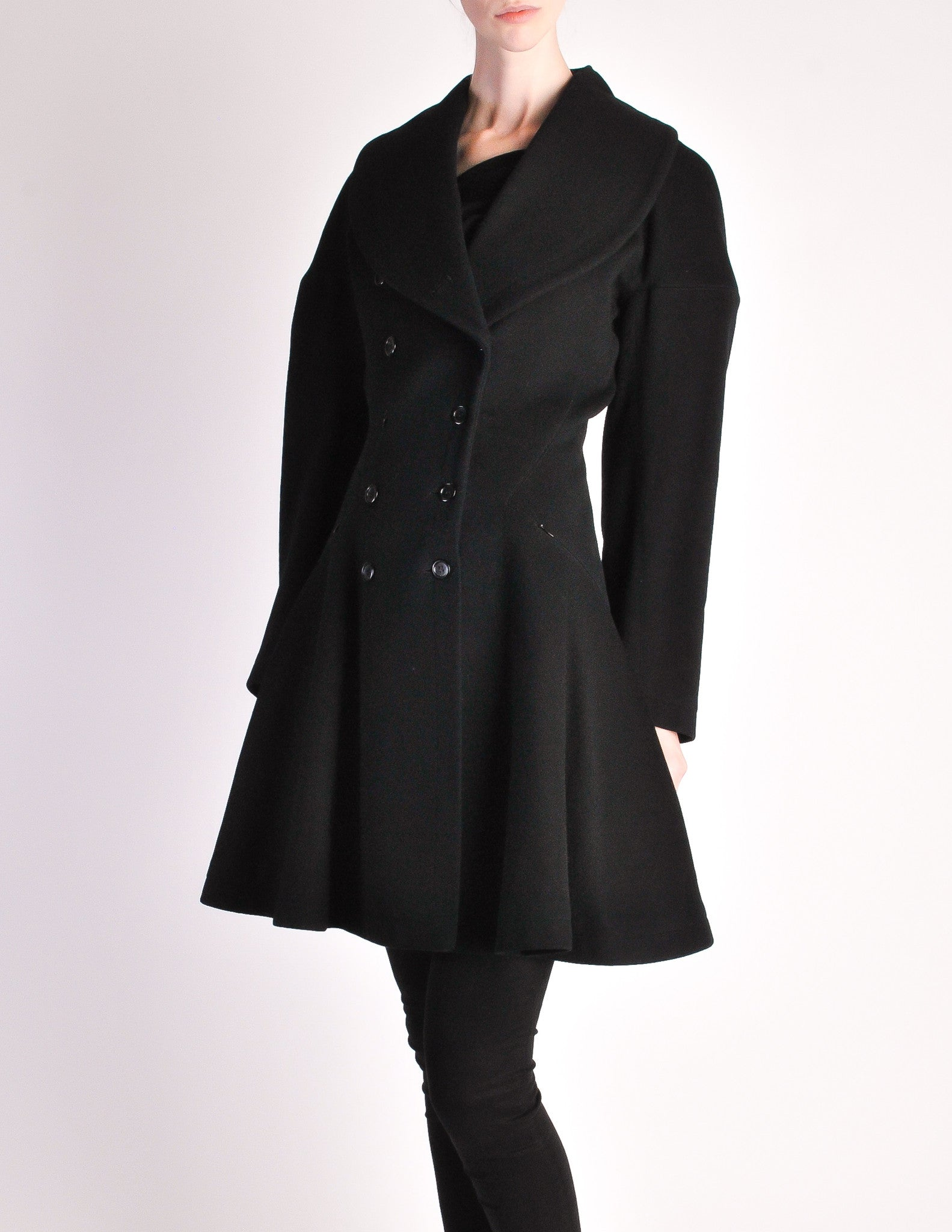 Alaïa Vintage Black Wool Double Breasted Coat - from Amarcord