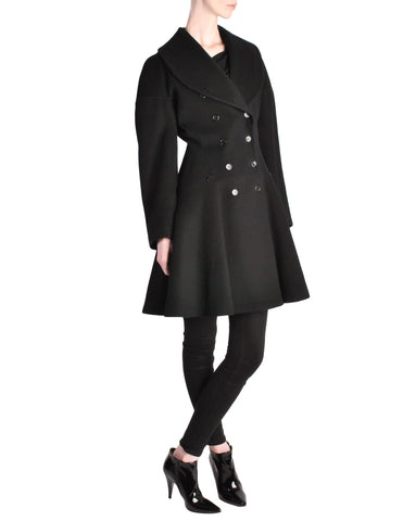 Alaïa Vintage Black Wool Double Breasted Coat
