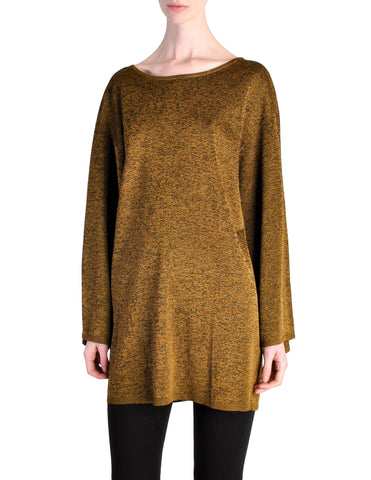 Alaïa Vintage Brown Gold Oversized Tunic Sweater