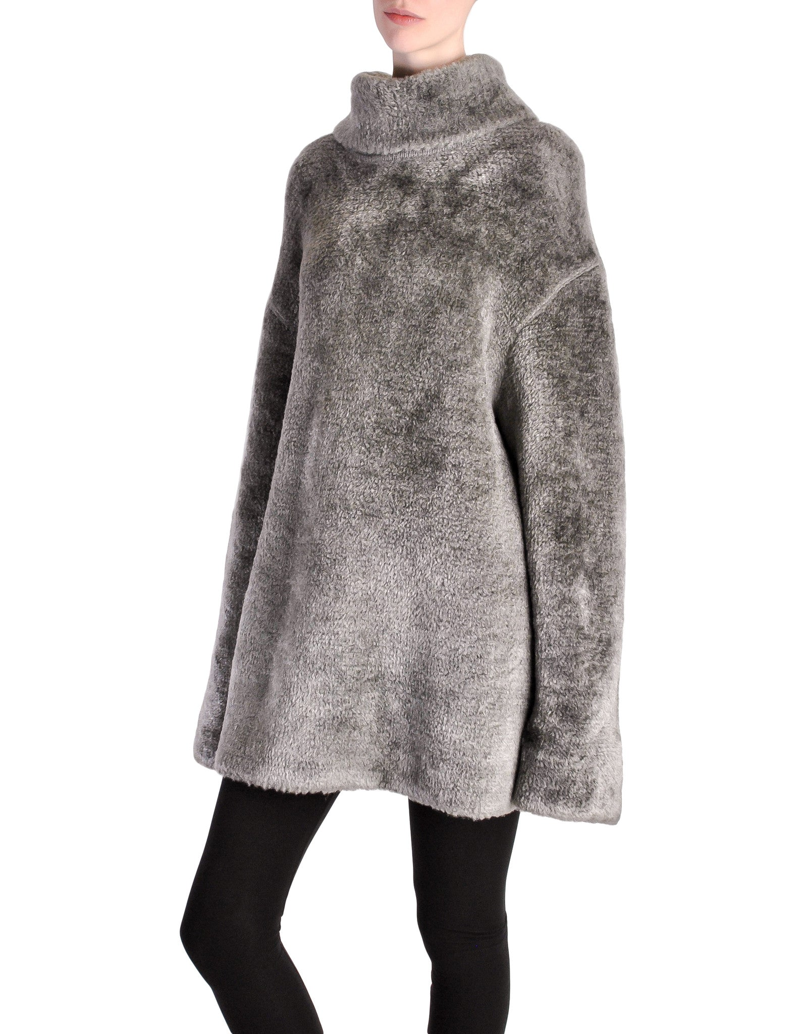 Alaïa Vintage Grey Fuzzy Oversized Turtleneck Sweater - Amarcord Vintage Fashion  - 1