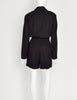 Alaia Vintage Black Collared Long Sleeve Shorts Jumpsuit