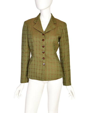 Alaia Vintage 1990 Green Brown Lace Up Back Wool Jacquard Blazer Jacket