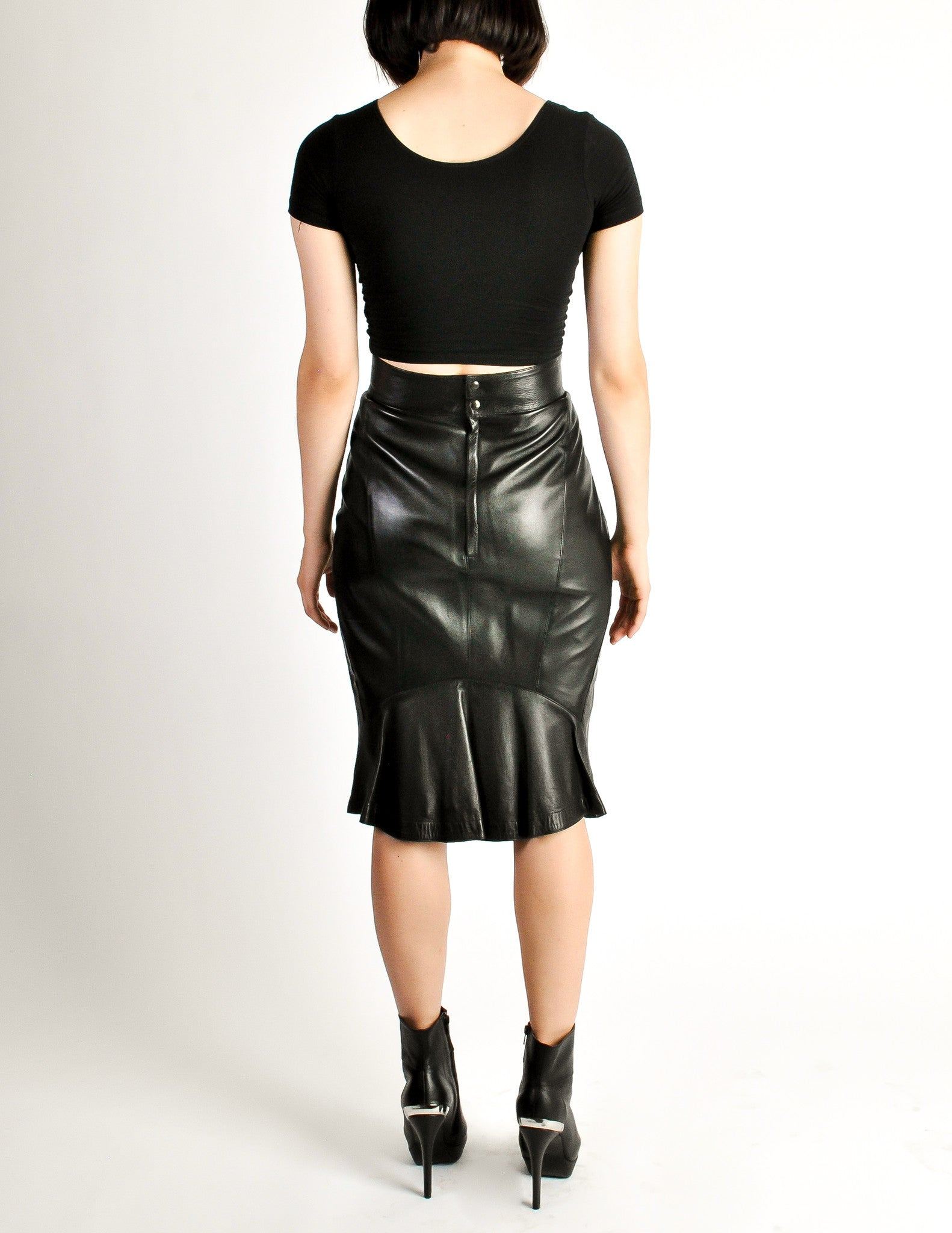 Ala 239 A Vintage Black Leather Pencil Skirt From Amarcord